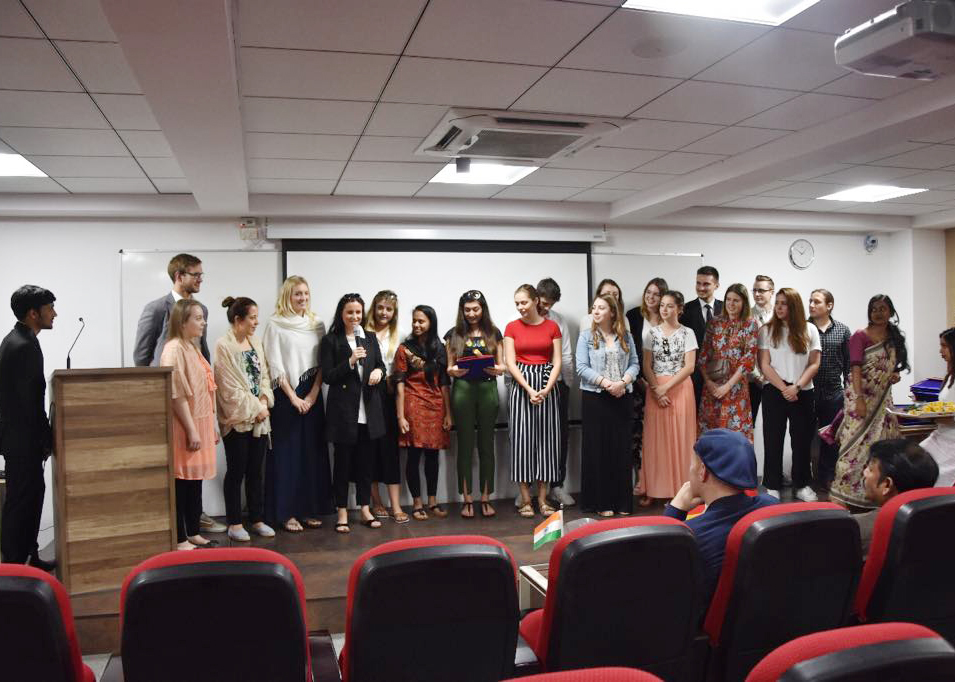 The students from HMKW Cologne at the introductory event at JAIN University in Bangalore, India.