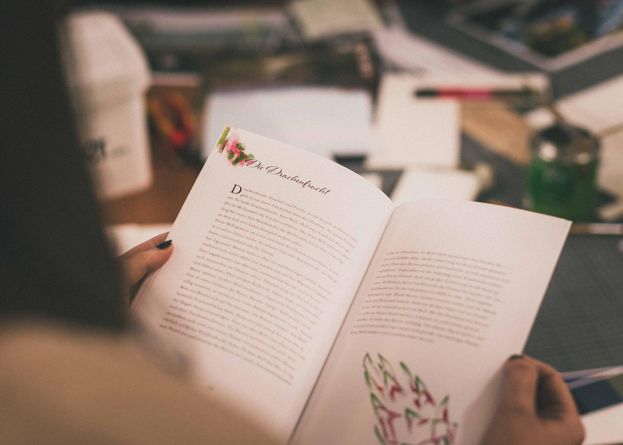 Gestaltung des Buch-Innenteils mit Typographie und Grafikelementen.
