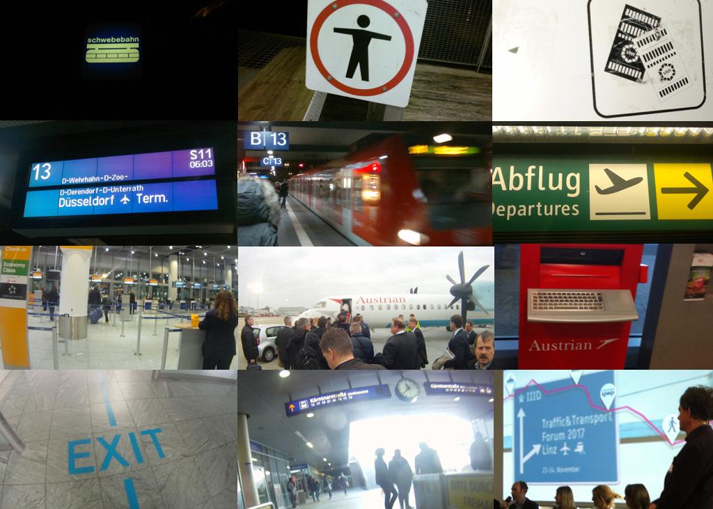 """Schwebebahn-Haltestelle, S-Bahnhof, Flughafen-Check-In, -Terminal und -Ankunftshalle: Wie viele unterschiedliche Stationen ein Reisender """"von A nach B"""" durchläuft, dokumentierte Prof. Dr. Schröppel."""