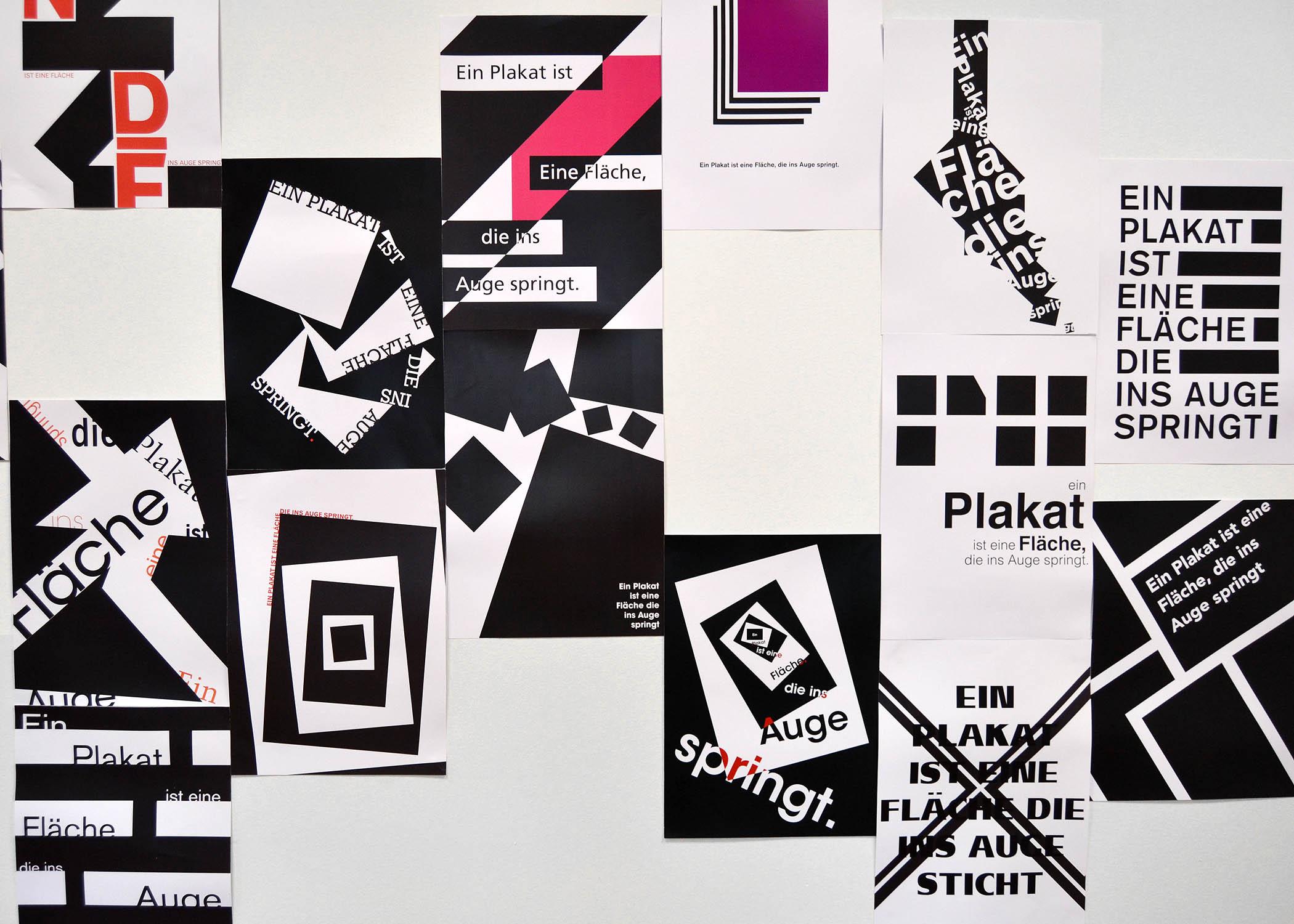 Gestaltungen aus der Projektwerkstatt Plakat bei Prof. F. Thomas.