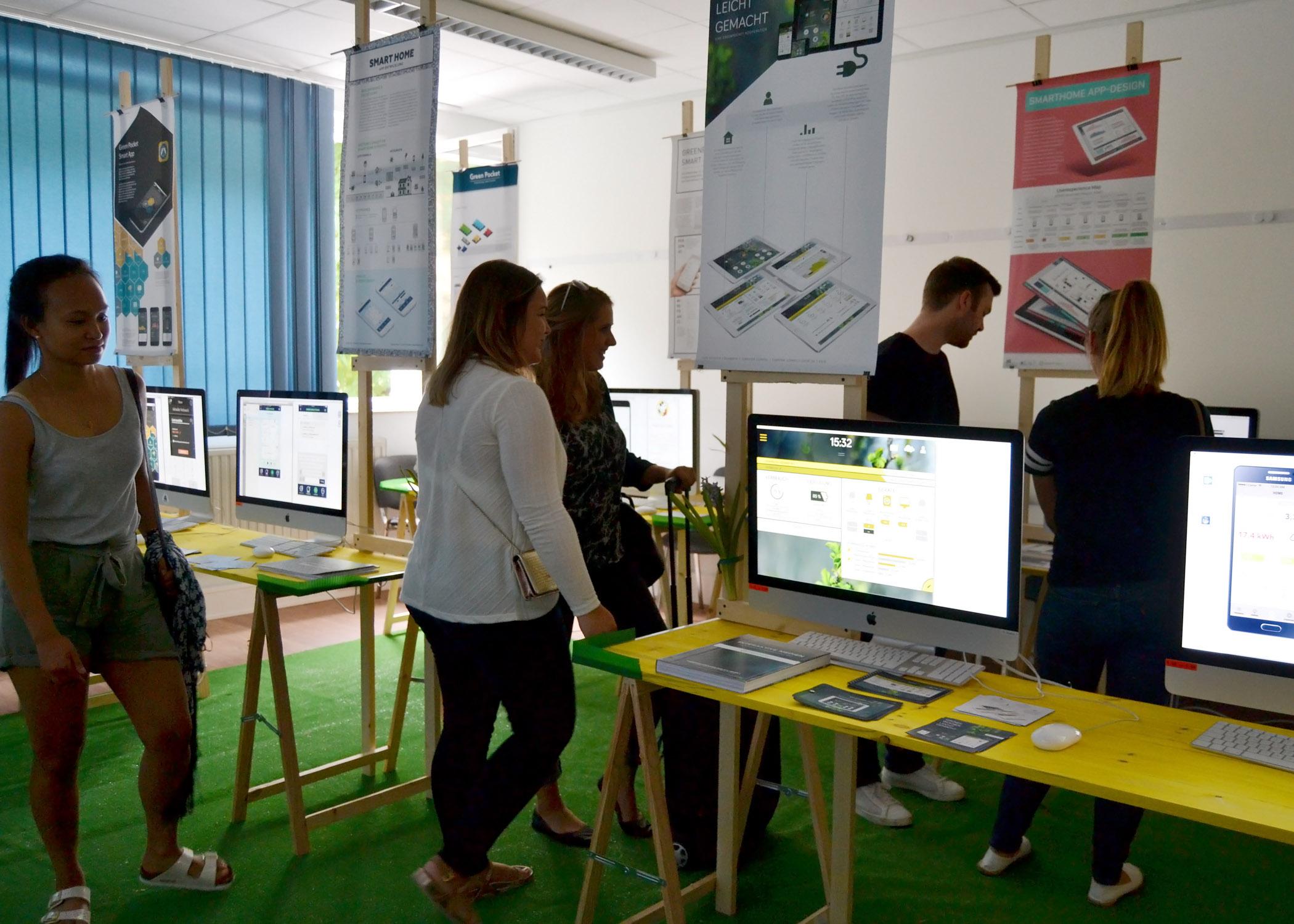 Bei dem Kooperationsprojekt mit GreenPocket im Modul Interaktive Medien ging es um die Erstellung von App-Prototypen. Animationen von Clickdummies sowie die dazugehörigen Poster und Dokumentationen sind hier ausgestellt.