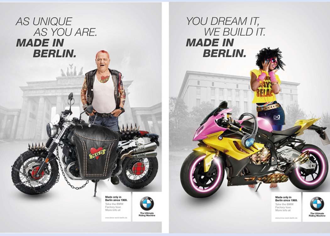 Gemeinsam mit ihren KommilitonInnen entwickelte und entwarf Luisa Barbero 2017 im Rahmen eines Praxisprojekts eine Werbekampagne für BMW Motorrad Berlin.